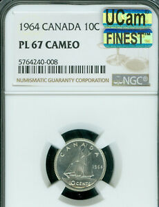 Click now to see the BUY IT NOW Price! 1964 CANADA 10 CENTS NGC PL67 CAMEO UCAM MAC FINEST GRADED MAC SPOTLESS
