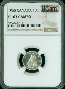 1965 CANADA 10 CENTS NGC PL67 CAMEO UCAM 2ND FINEST GRADED  MAC SPOTLESS