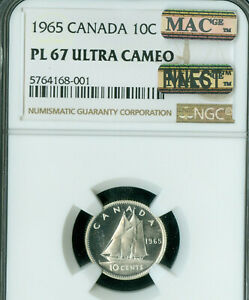 1965 CANADA 10 CENTS NGC PL67 ULTRA CAMEO ONLY 1 FINER  MAC SPOTLESS