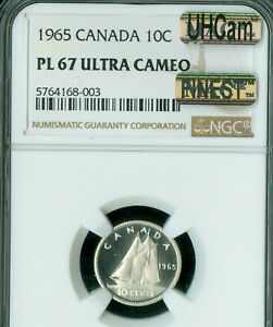 1965 CANADA 10 CENTS NGC PL67 ULTRA HEAVY CAMEO ONLY 1 FINER  MAC SPOTLESS