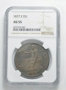 AU55 1877 S SEATED LIBERTY SILVER TRADE DOLLAR   GRADED NGC  5083