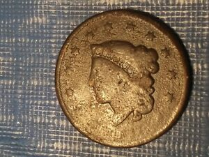 1837 MATRON HEAD LARGE CENT IN FAIR CONDITION.