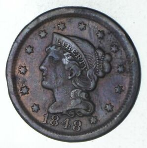 1848 BRAIDED HAIR LARGE CENT   CIRCULATED  9255