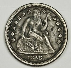 1856 O LIBERTY SEATED DIME ERROR  4 DOTS: 1 IN M 3@ O MINT MARK XF DETAIL 141393