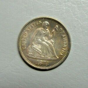 1873 S LIBERTY SEATED HALF DIME CHOICE UNCIRCULATED W/ ATTRACTIVE TONING