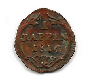 SWITZERLAND CANTON SCHWYZ 1816 1 RAPPEN COIN