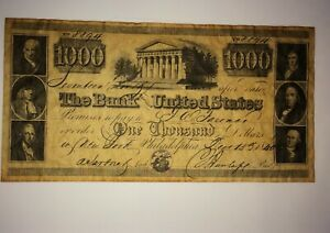 1840 $1000 BANK NOTE THE BANK UNITED STATES 8894
