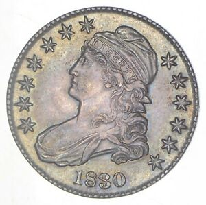 1830 CAPPED BUST HALF DOLLAR   TONED  6283