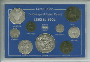 1893 1901 QUEEN VICTORIA OLD HEAD TYPE GB CROWN COIN GIFT SET IN DISPLAY CASE