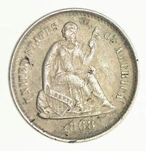 1868 S SEATED LIBERTY SILVER HALF DIME   CIRCULATED  4125