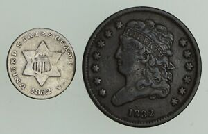 LOT  2  1832 CLASSIC HEAD HALF CENT & 1852 SILVER THREE CENT PIECE  3186
