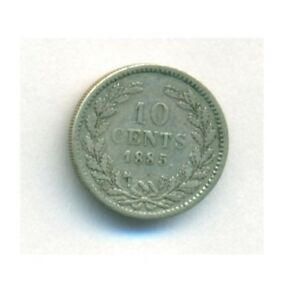 NETHERLANDS COIN 10 CENTS 1885 SILVER KM 80 VF