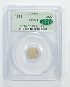 MS63 CAC 1858 SILVER THREE  CENT PIECE   TRIME   GRADED PCGS  6338