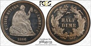 1866 PROOF SEATED LIBERTY HALF DIME PCGS PR64 CAMEO  ORIGINAL WHITE LOOKS BETTER