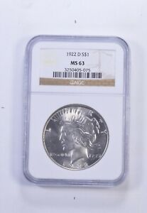 MS63 1922 D PEACE SILVER DOLLAR   GRADED NGC  5425