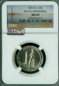 Click now to see the BUY IT NOW Price! 2013 D PEACE MEMORIAL PARKS LOGO QUARTER NGC MS69 PQ FINEST MAC SPOTLESS