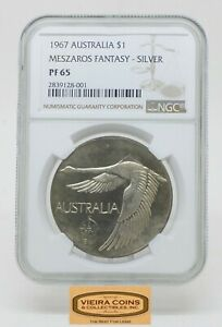 Click now to see the BUY IT NOW Price! 1967 AUSTRALIA $1 MESZAROS FANTASY NGC PF 65  PATTERN 750 COINS    B16966