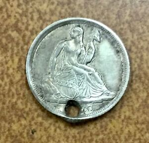 1837  SEATED LIBERTY HALF DIME NO STARS TYPE COIN  XF  DETAILS HOLED