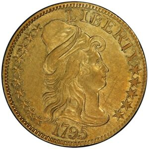 Click now to see the BUY IT NOW Price! 1795 $5 SMALL EAGLE DRAPED BUST HALF EAGLE PCGS AU58  CAC