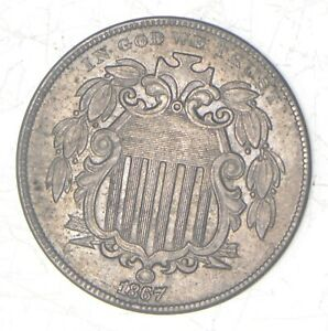 1867 SHIELD NICKEL   WITHOUT RAYS  7236