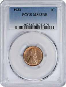 1933 LINCOLN CENT MS63RB PCGS