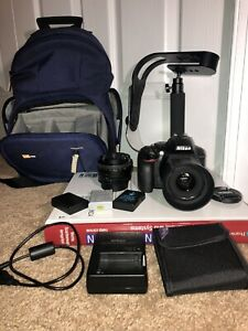 NIKON D5300 DSLR CAMERA BUNDLE: 35   50 MM NIKON NIKKOR LENSES 3 BATTERIES BAG