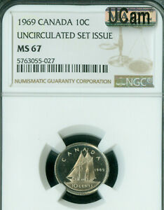 1969 CANADA 10 CENTS NGC MAC MS67 UCAM SOLO FINEST SPOTLESS