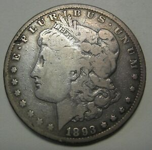 1893 CC MORGAN SILVER DOLLAR GRADING VG SMALL RIM GOUGE PRICED RIGHT  B39
