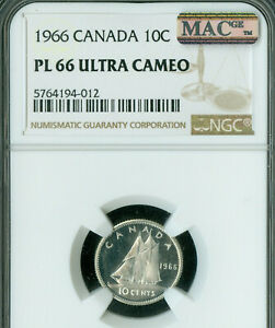 1966 CANADA SILVER 10 CENTS NGC PL66 ULTRA CAMEO 2ND FINEST POP 2