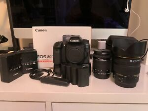 CANON EOS 80D 24.2MP DIGITAL SLR CAMERA KIT WITH 2LENS 4BATTERY GRIP 2CHARGERS