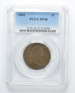 XF40 1802 DRAPED BUST LARGE CENT   REV CUD   GRADED PCGS  6348