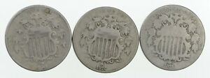 LOT  3  1872 SHIELD NICKELS  3224