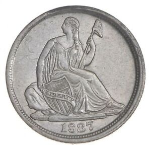 1837 SEATED LIBERTY HALF DIME   LARGE DATE  7316