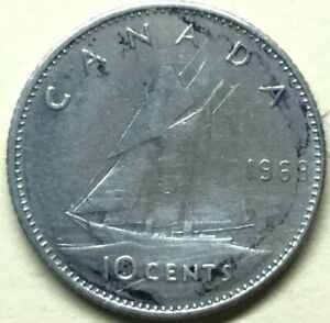 1968 CANADIAN DIME CIRCULATED   PERFECT FOR COIN BOOKS