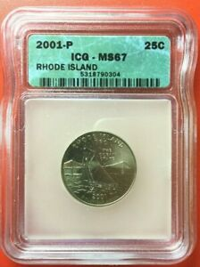 2001 P RHODE ISLAND STATEHOOD QUARTER GRADED MS67