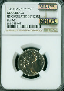 Click now to see the BUY IT NOW Price! 1980 CANADA 25 CENTS NGC MS69 PQ MAC SOLO FINEST GRADE MAC SPOTLESS