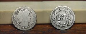 1896 S BARBER LIBERTY HEAD SILVER DIME 1896S US COIN