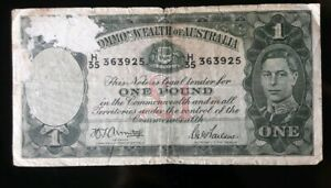 AUSTRALIA 1 POUND ISSUED 1942 SIGNED ARMITAGE MCFARLANE CIRCULATED