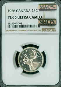 Click now to see the BUY IT NOW Price! 1956 CANADA 25 CENTS NGC PL 66 ULTRA CAMEO SOLO FINEST GRADE MAC SPOTLESS