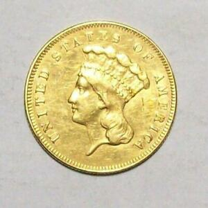 1857 PRINCESS THREE DOLLAR GOLD COIN DIFFICULT LOW MINTAGE  AU SCRATCH 35C2