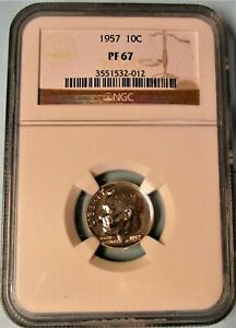 1957 NGC PF 67 ROOSEVELT SILVER  DIME  NICE
