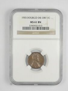 MS61 BN 1955 LINCOLN WHEAT CENT   DOUBLE DIE OBVERSE   GRADED NGC  1014