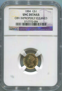 1884 $1 ONE DOLLAR GOLD LIBERTY HEAD. NGC UNC DETAILS