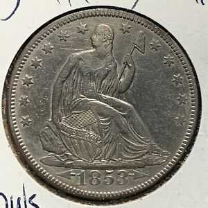 1853 50C LIBERTY SEATED HALF DOLLAR ARROWS AND RAYS  53642