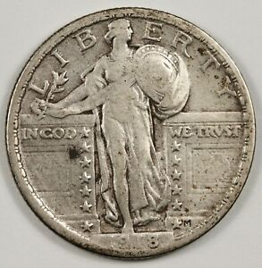 1918 P STANDING LIBERTY QUARTER.  UNCLEANED NATURAL V.F. X.F.  143614