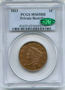 Click now to see the BUY IT NOW Price! 1823 CORONET HEAD LARGE CENT PCGS MS65RB CAC PRIVATE RESTRIKE 1C COIN   JD747