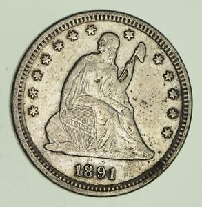 1891 SEATED LIBERTY SILVER QUARTER   VARIETY 4   CIRCULATED  2860