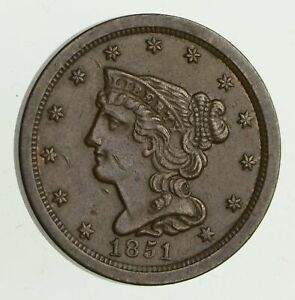 1851 BRAIDED HAIR HALF CENT   CHOICE  9498
