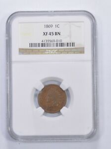 XF45 BN 1869 INDIAN HEAD CENT   GRADED NGC  6567