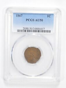 AU50 1867 INDIAN HEAD CENT   GRADED PCGS  5566